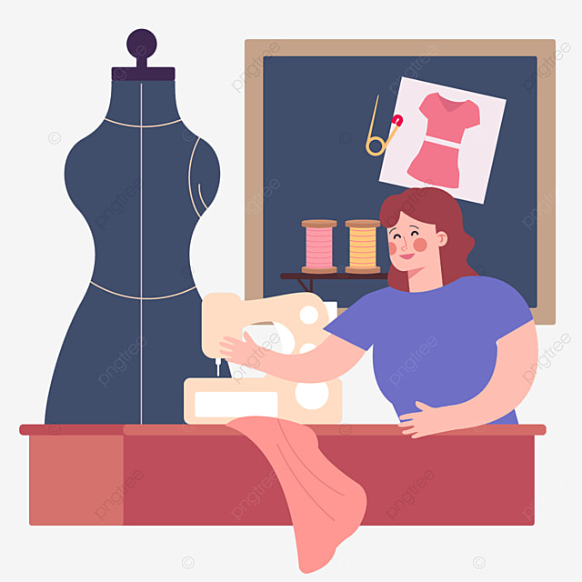 female tailor making fashion designer illustration