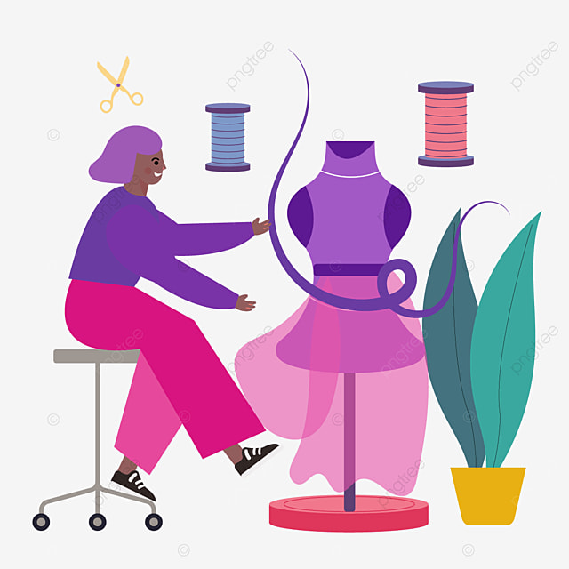 flat style designer draws fashion designer illustration