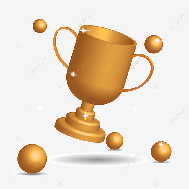 golden trophy 3d and balls flying