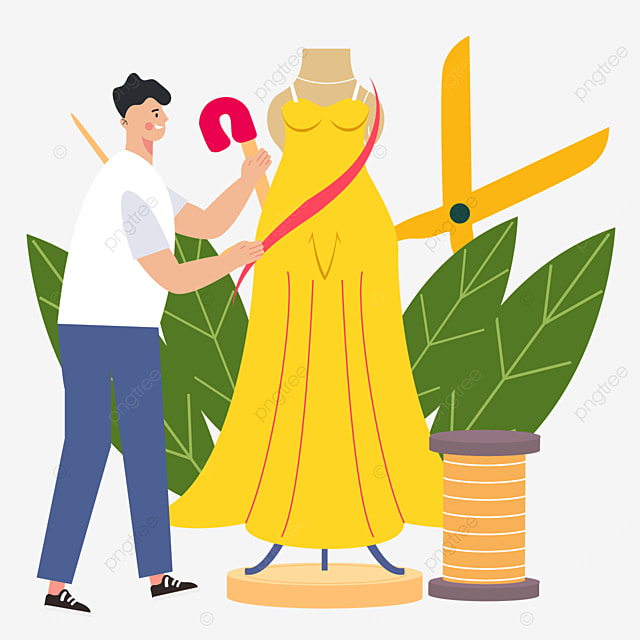measuring yellow fashion designer illustration