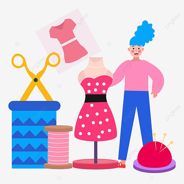 pink polka dot skirt draws fashion designer illustration