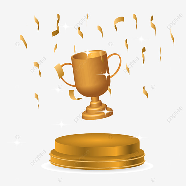 podium trophy 3d golden greeting gift