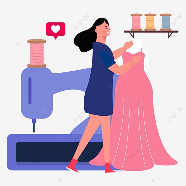 purple sewing machine fashion designer illustration