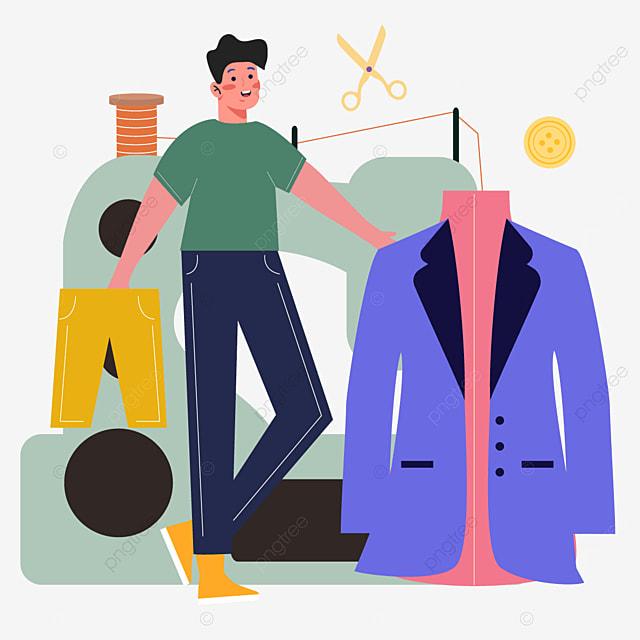 purple suit fashion designer illustration
