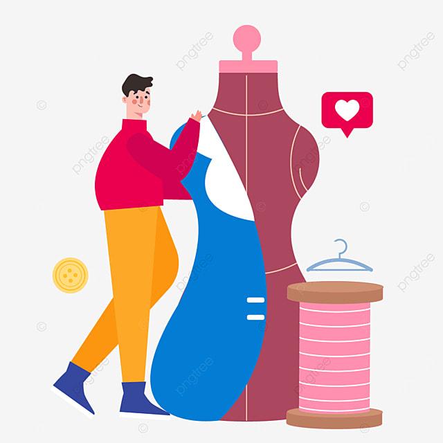 draw a fashion designer scene illustration