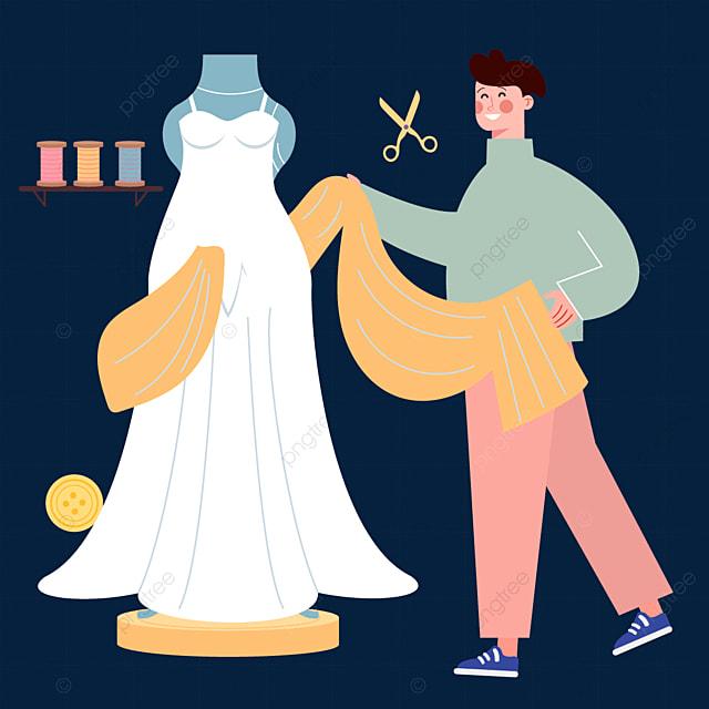 draw a yellow illustration of a fashion designer