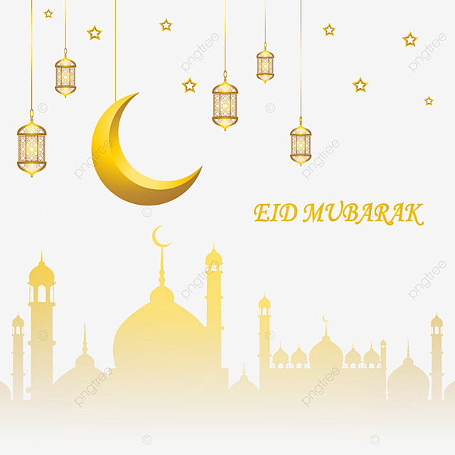 eid mubarak 3d transparent background vector