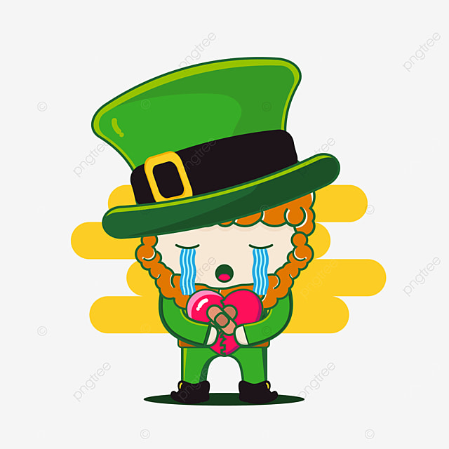 cute st patrick character broken hearted