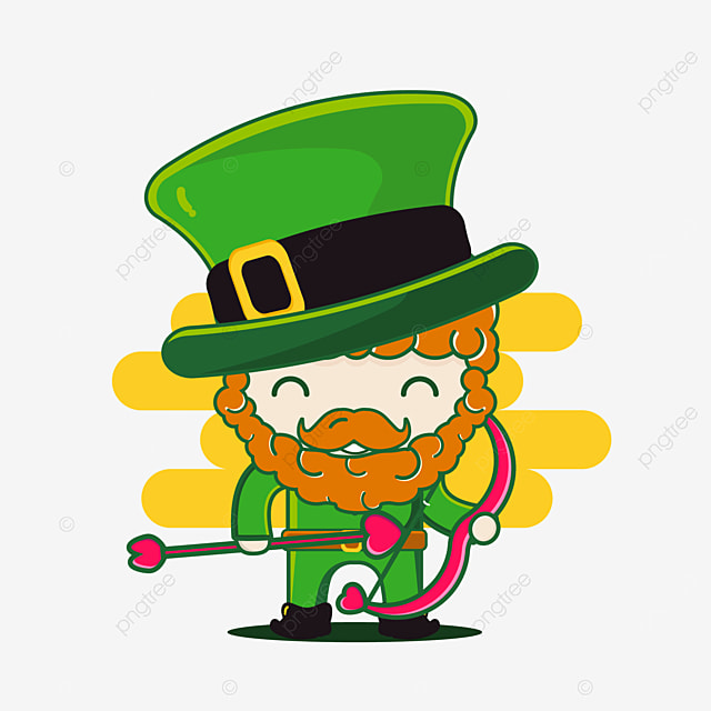 cute st patrick character with bow of love arrow