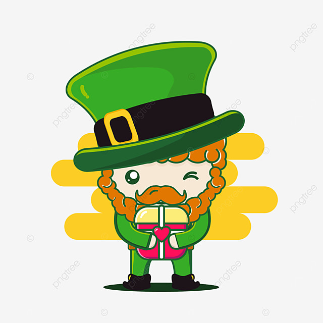 cute st patrick character with box love