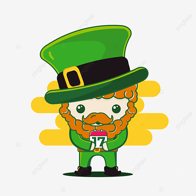 cute st patrick character with calendar date