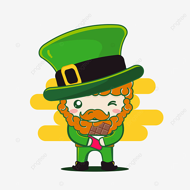 cute st patrick character with chocolate
