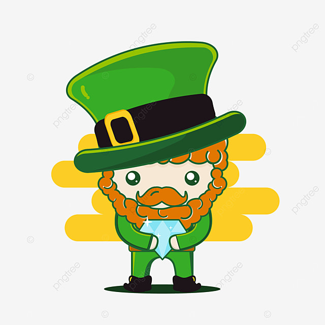 cute st patrick character with diamond