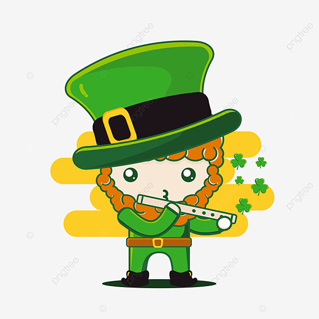cute st patrick character with flute