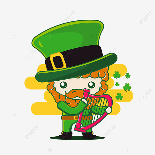 cute st patrick character with harp