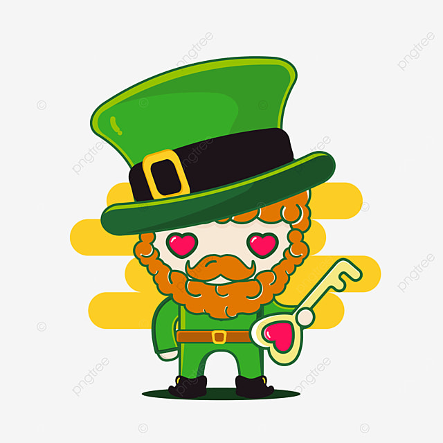 cute st patrick character with key love