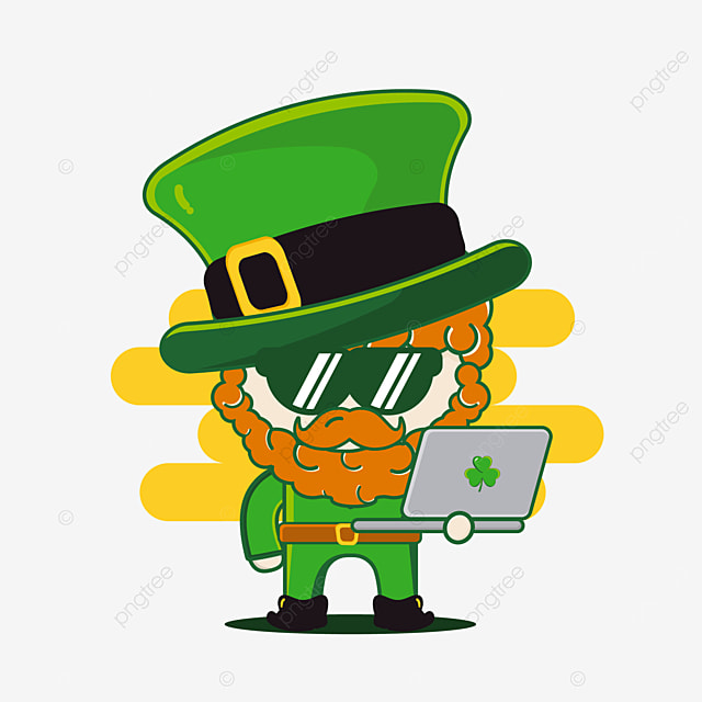 cute st patrick character with laptop