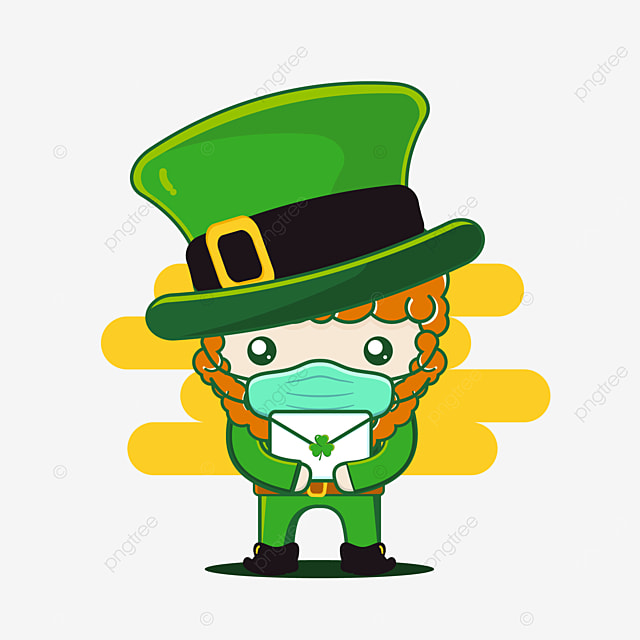 cute st patrick character with mail