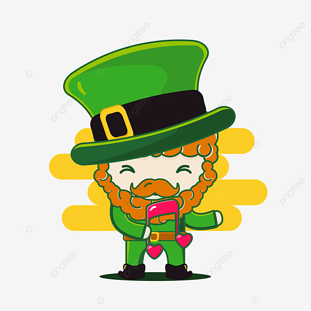 cute st patrick character with melody music