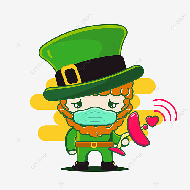 cute st patrick character with satellite