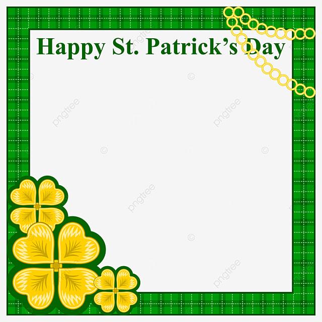 happy st patrick day clover frame