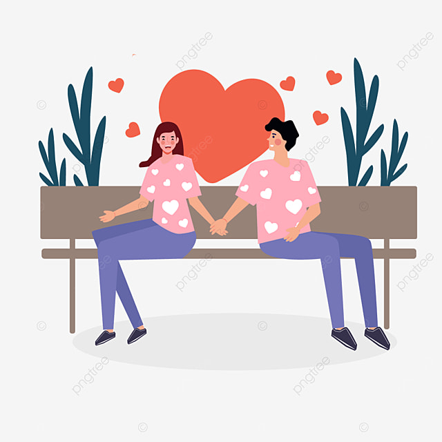 valentines day couple bench illustration