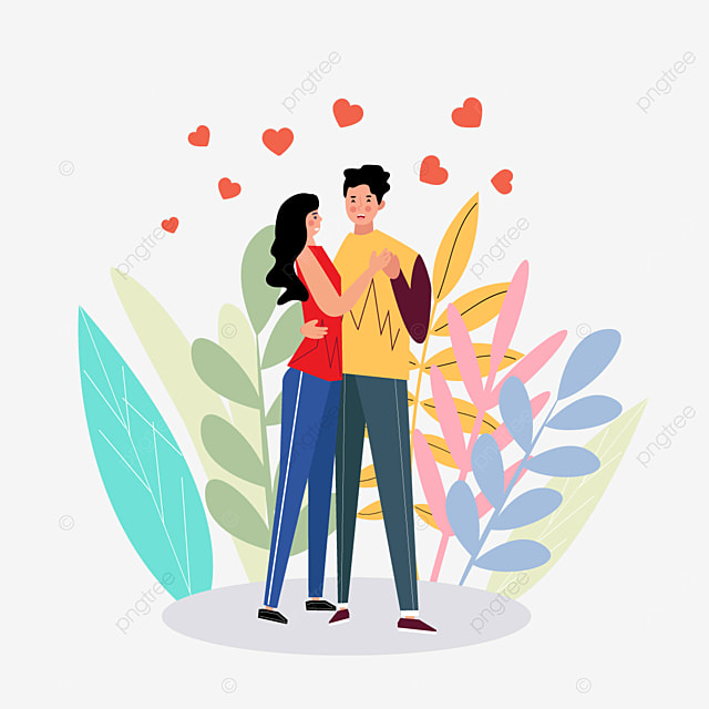 valentines day couple dancing illustration