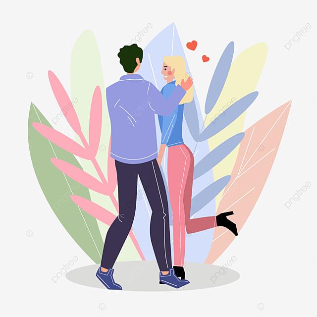 valentines day couple garden dancing illustration