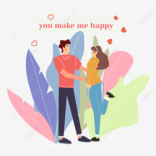valentines day couple garden walk illustration