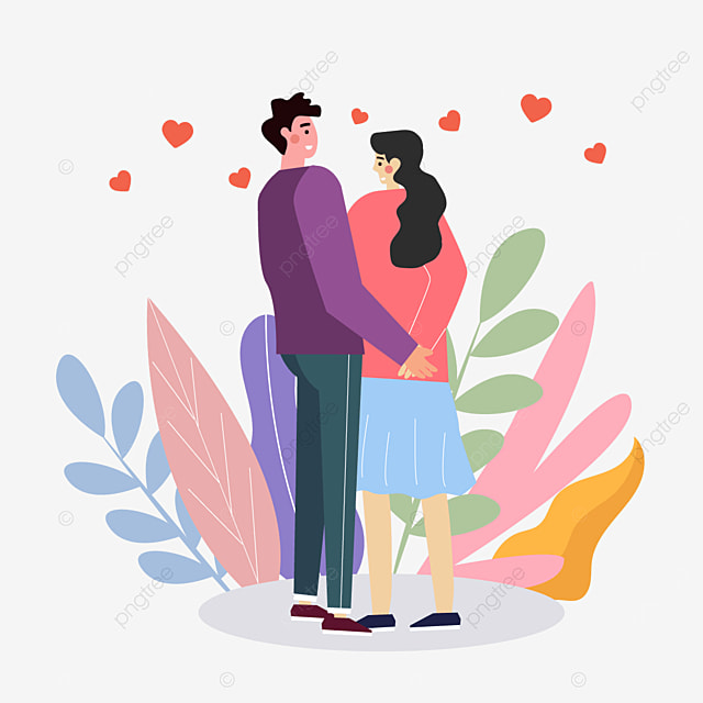 valentines day couple holding hands illustration