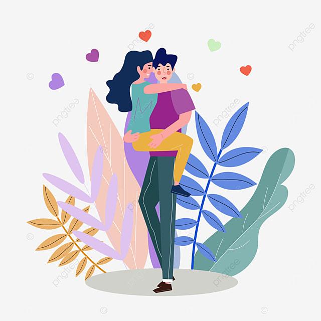 valentines day couple hugging illustration