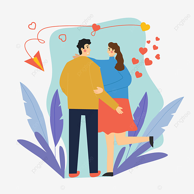 valentines day couple paper airplane illustration