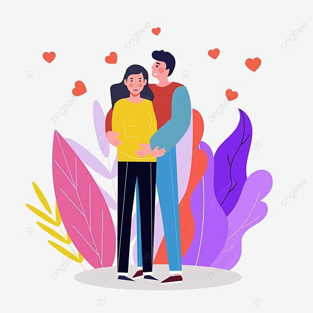 valentines day couple purple leaf illustration