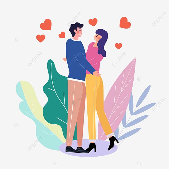 valentines day couple romantic hug illustration