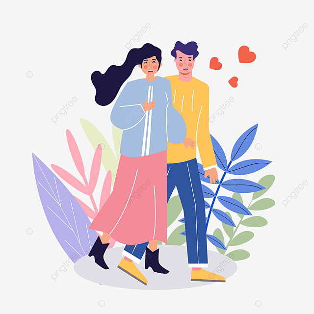 valentines day couple strolling illustration
