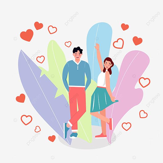 valentines day couple summer dress illustration