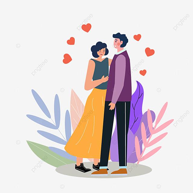 valentines day couple walking illustration