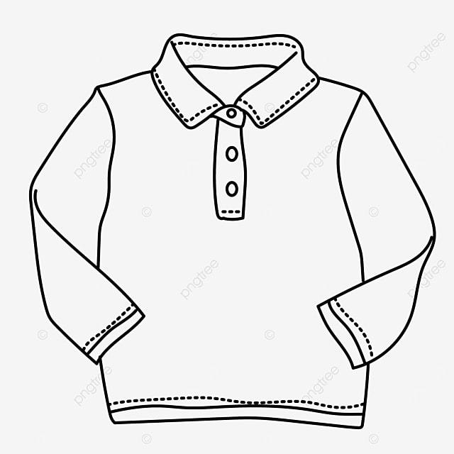 autumn season long sleeve shirt clipart black and white