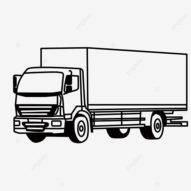 big container transportation traffic driving truck clipart black and white