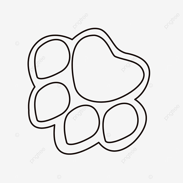 black and white animal footprints paw clipart