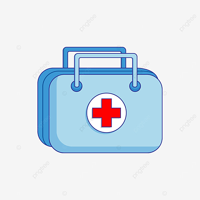 blue handle first aid kit clipart