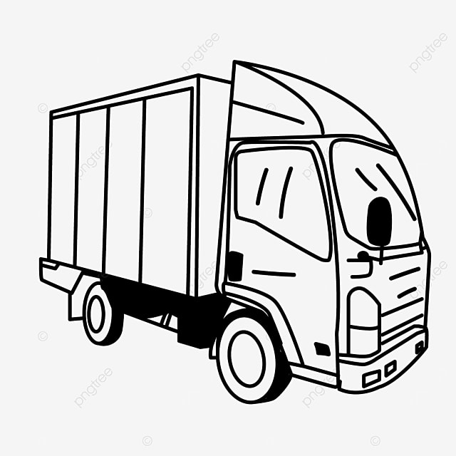 car turning driving truck clipart black and white