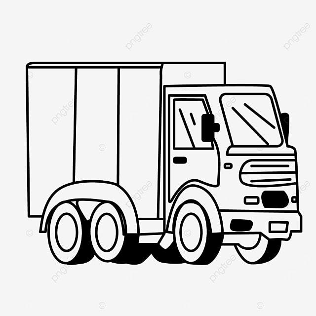 cartoon cargo truck clip art black and white