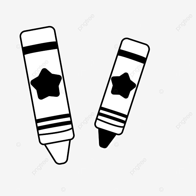 cartoon paint painting crayons clipart black and white