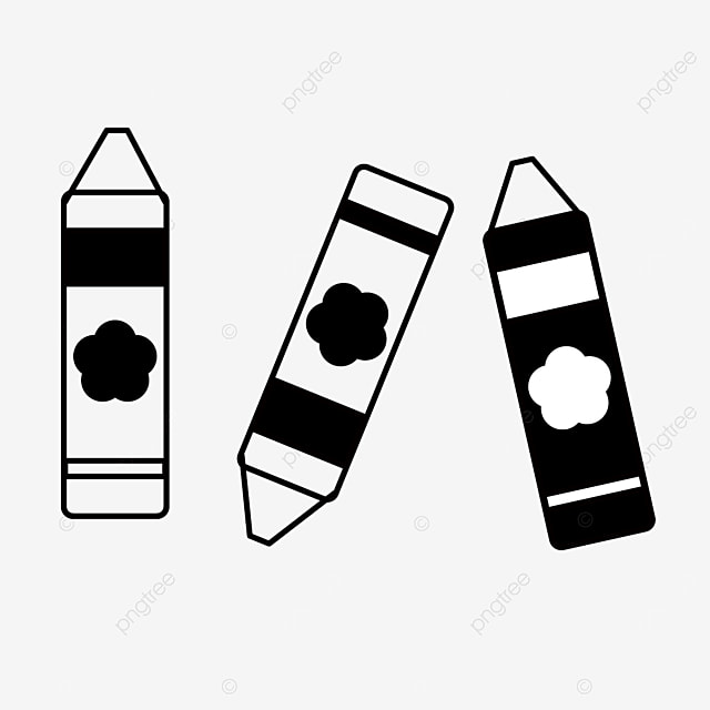 color color tool crayons clipart black and white