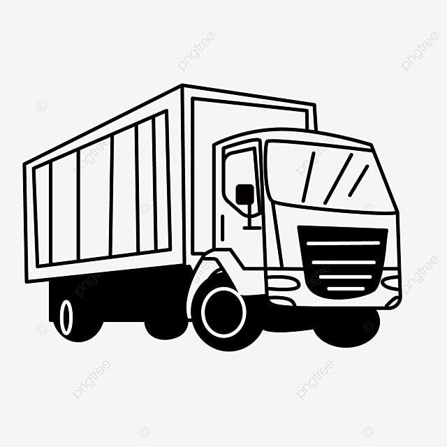 container large cargo truck clipart black and white