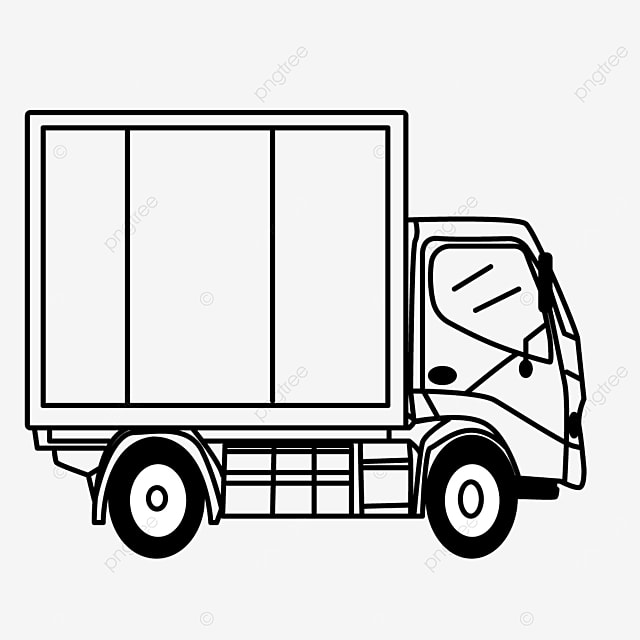 container transport driving vehicle truck clip art black and white
