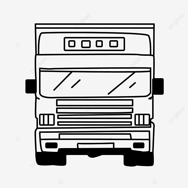frontal large transport truck clipart black and white