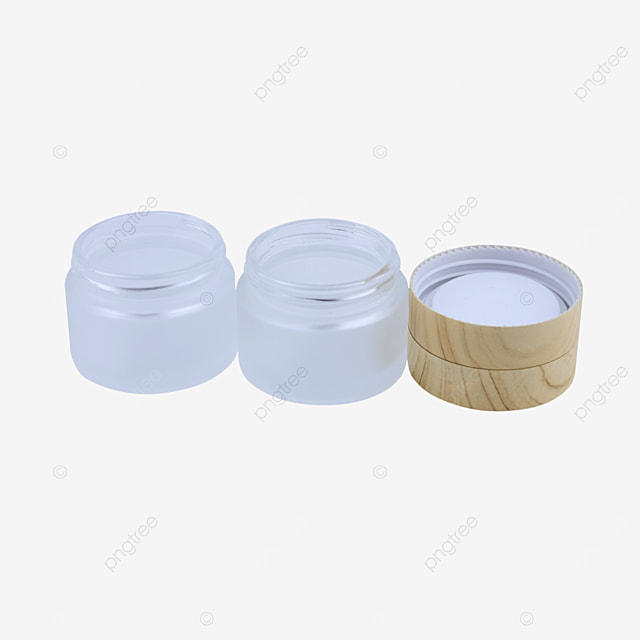 frosted glass cosmetic container with wood grain lid