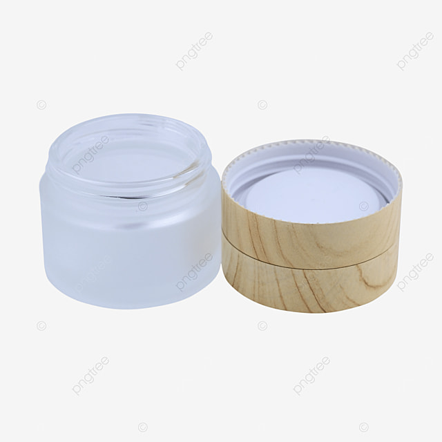 frosted glass face cream box with wood grain cover